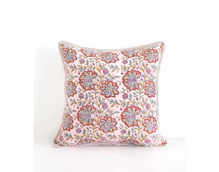 Nude pink square cotton pillow cover