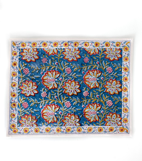 Printed table mat Louise Midnight blue