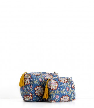 Printed pouch Louise Midnight blue