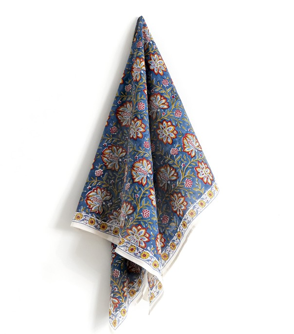 Hand printed scarf Louise  Midnight blue