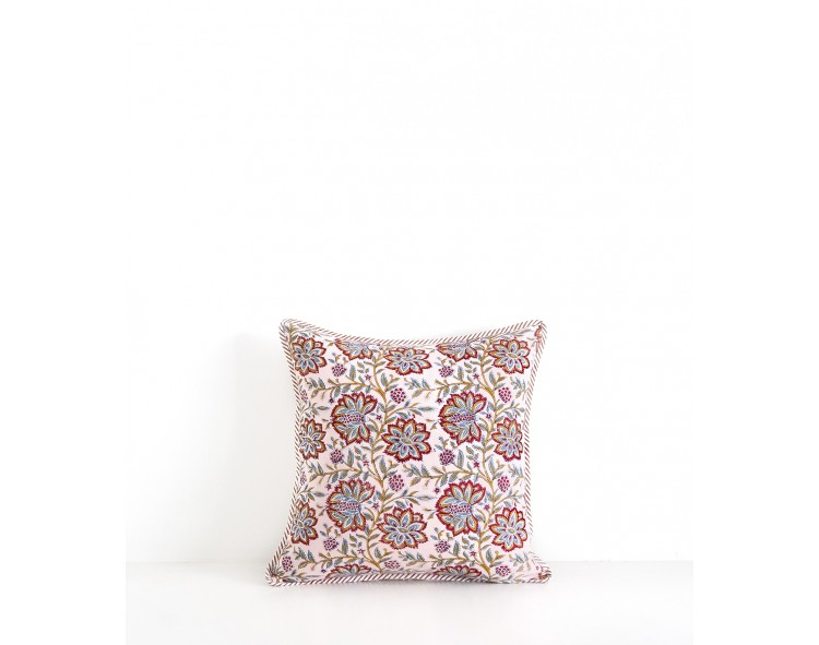 Hand printed pillowcase Louise Nude pink