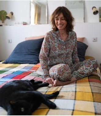 Pyjama imprimé Louise - Vert turquoise