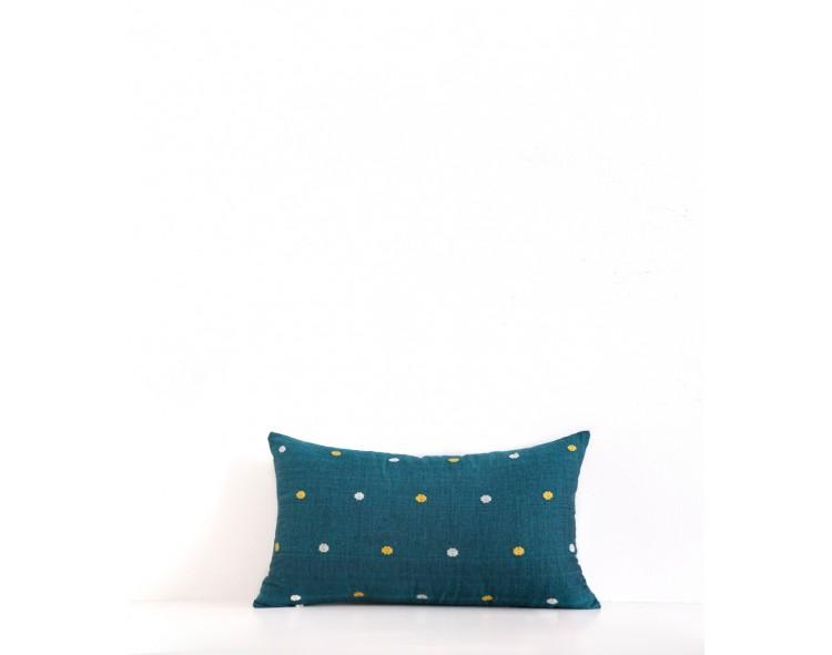 Housse de coussin rectangle Suri bleu canard