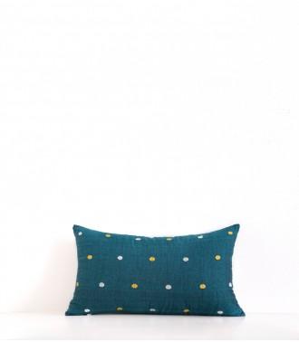 Hand-woven cushion cover Maloti duck blue