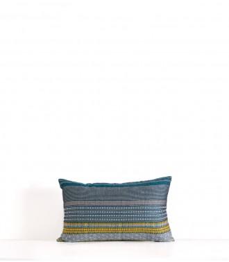 Hand woven Juhi duck blue cushion cover