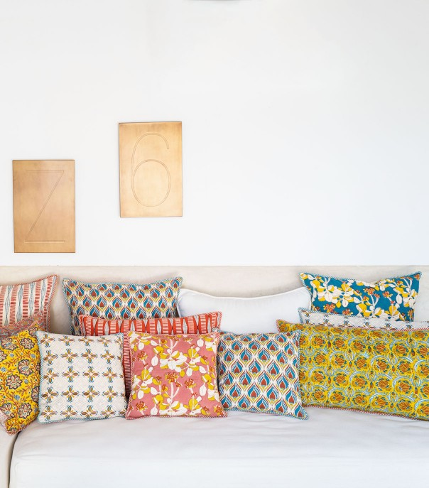 Hand-printed cushion covers