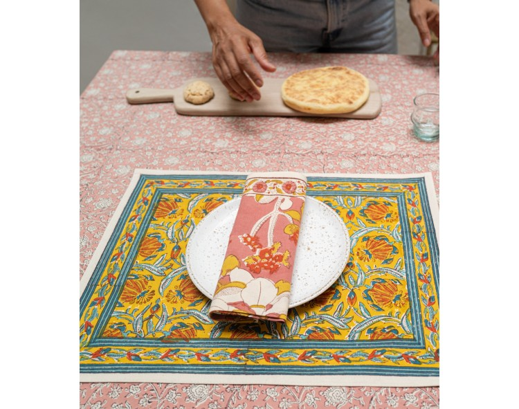 serviette de table rose