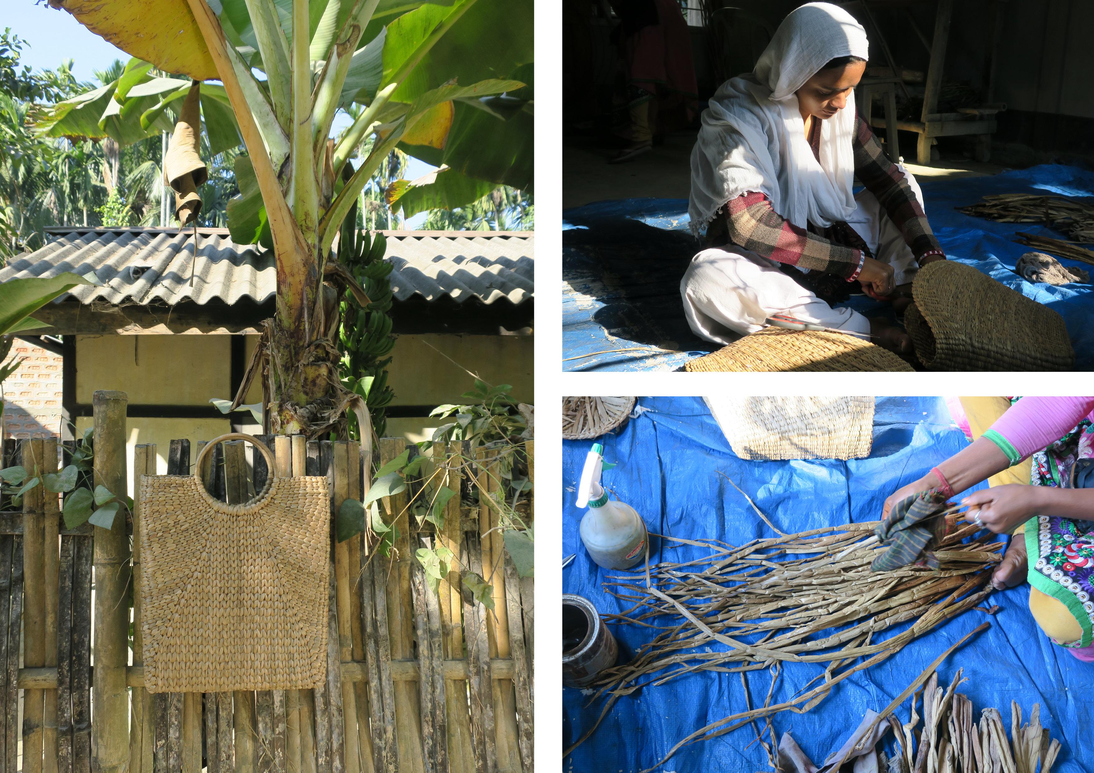 women making baskets with water hyacinth