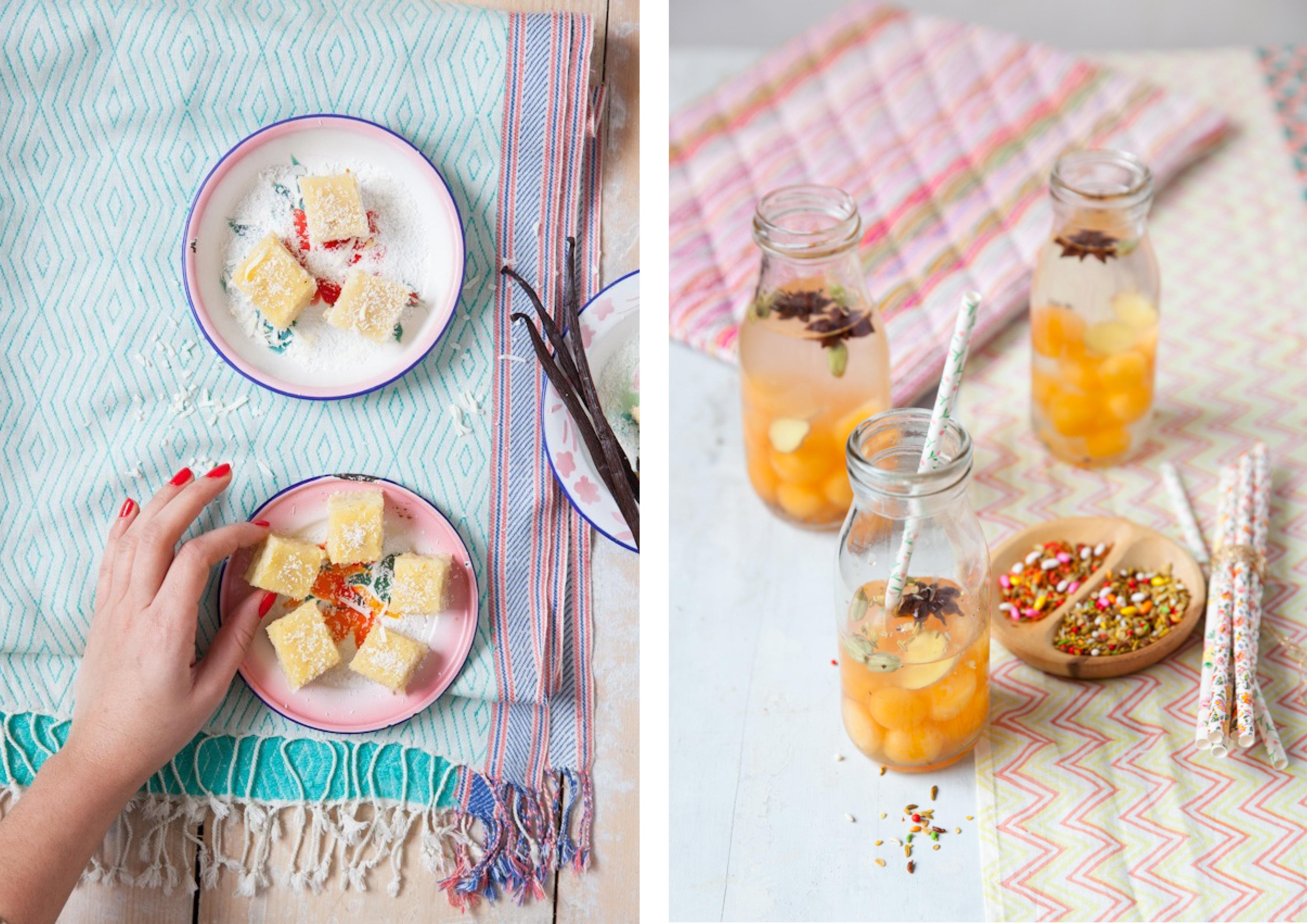 dessert and mango drinks