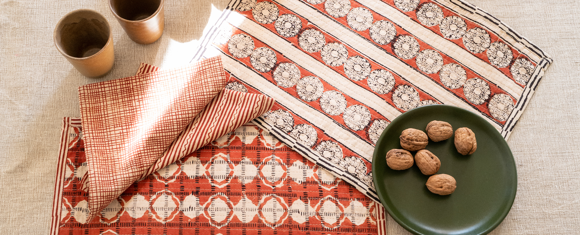 hand printed table linen