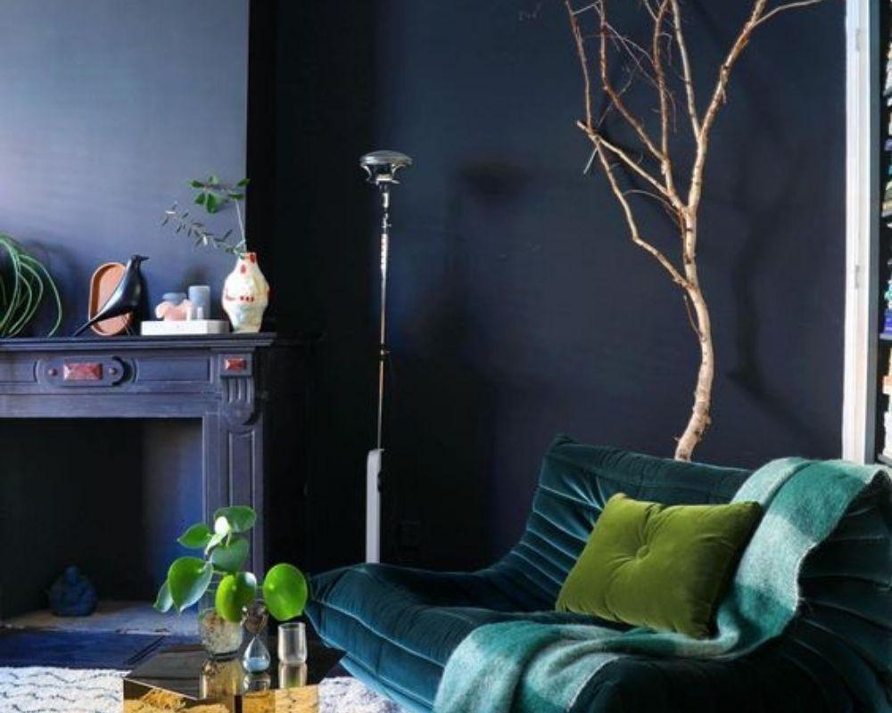 decoration in dark blue