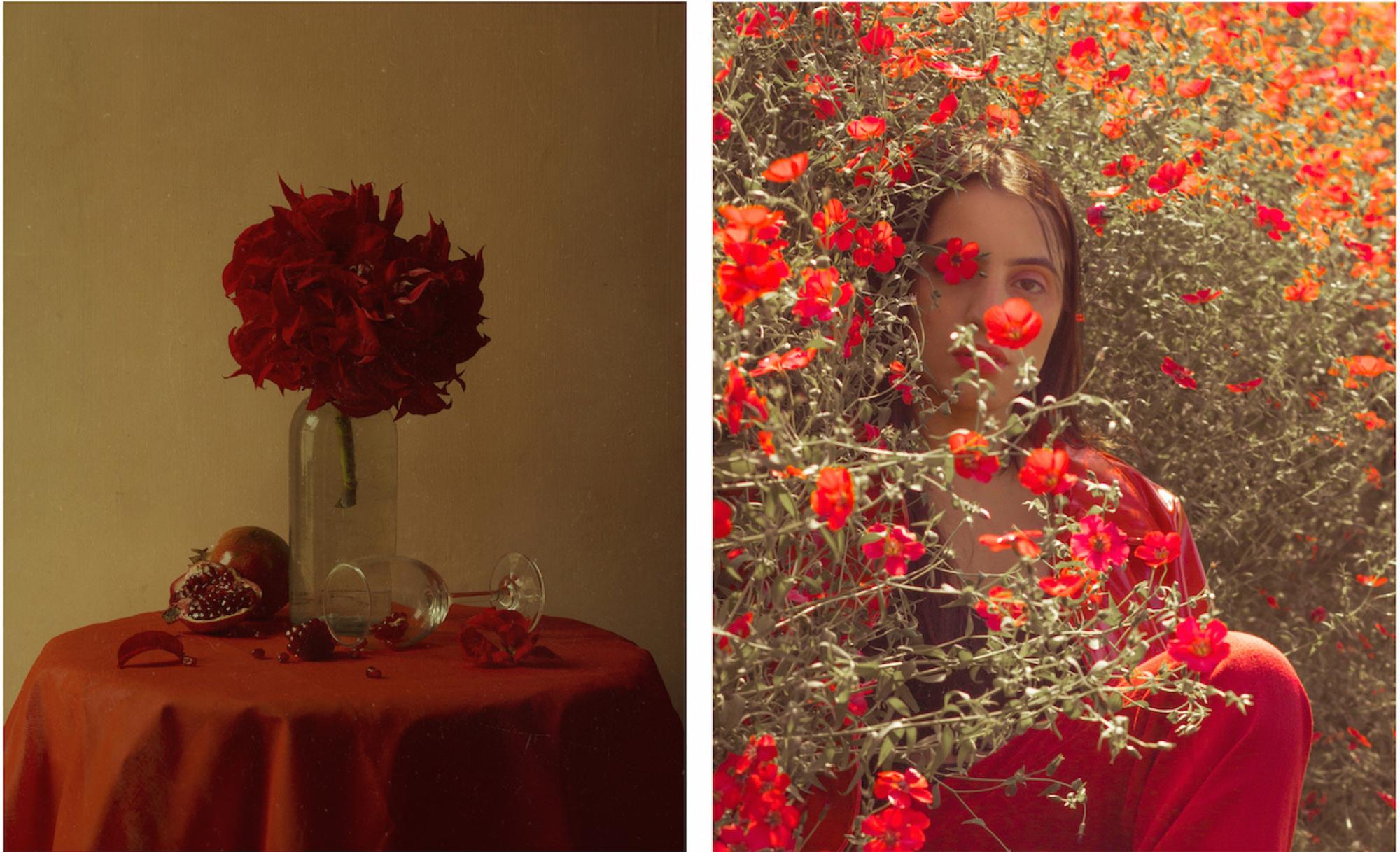 photo de femme et fleurs rouges