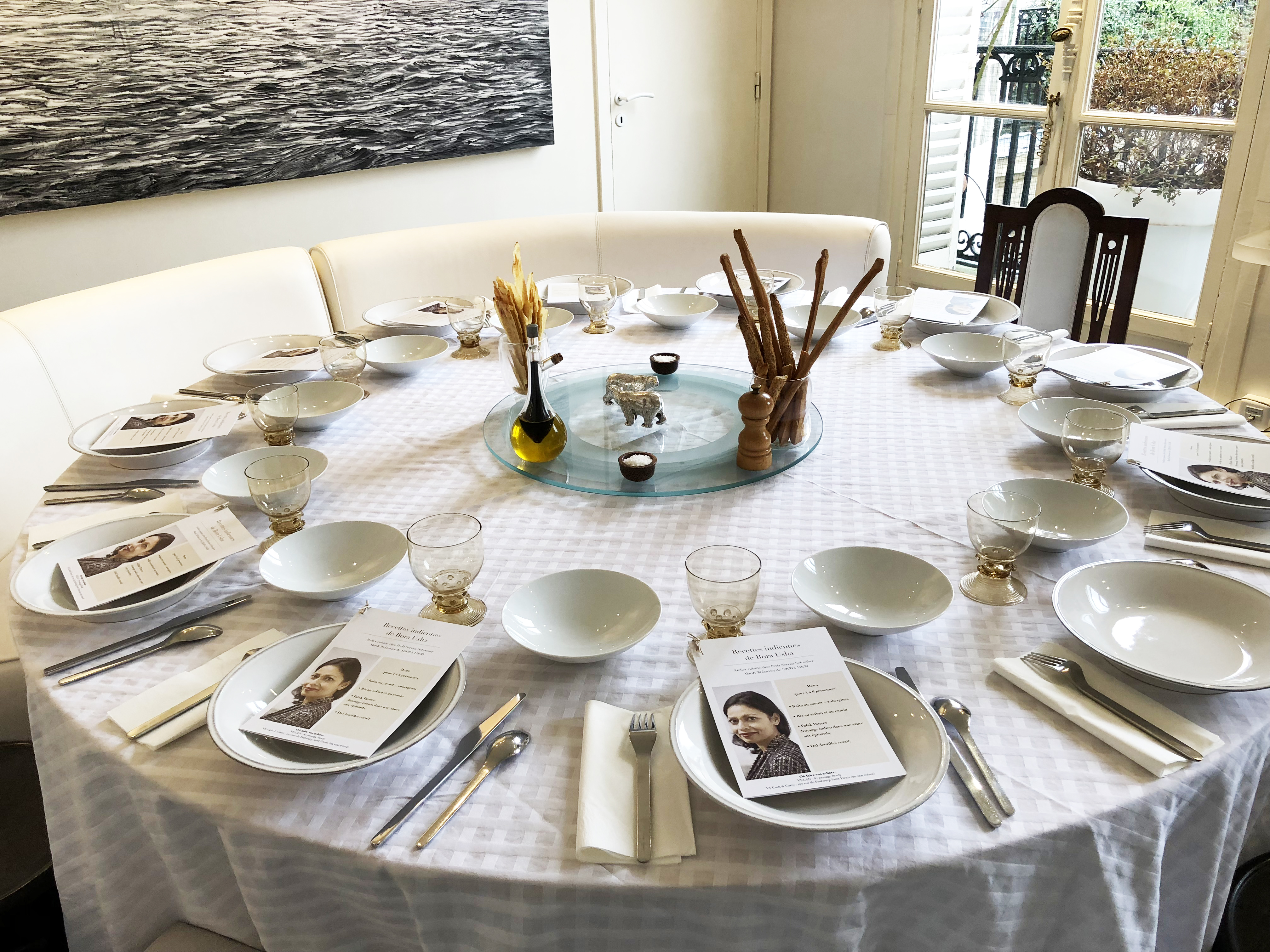 table all set for lunch