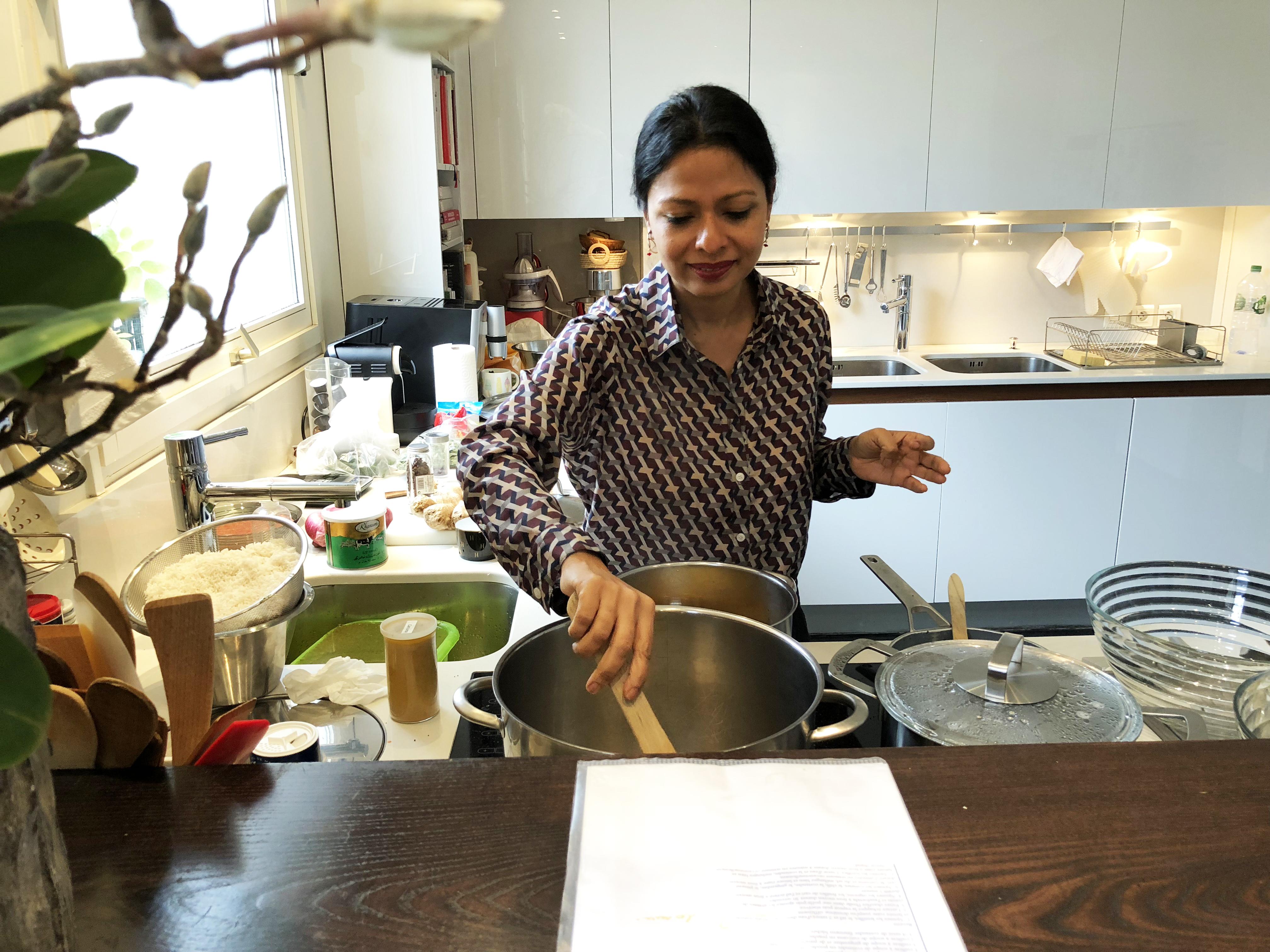 Usha preparing her delicious Indian recipes