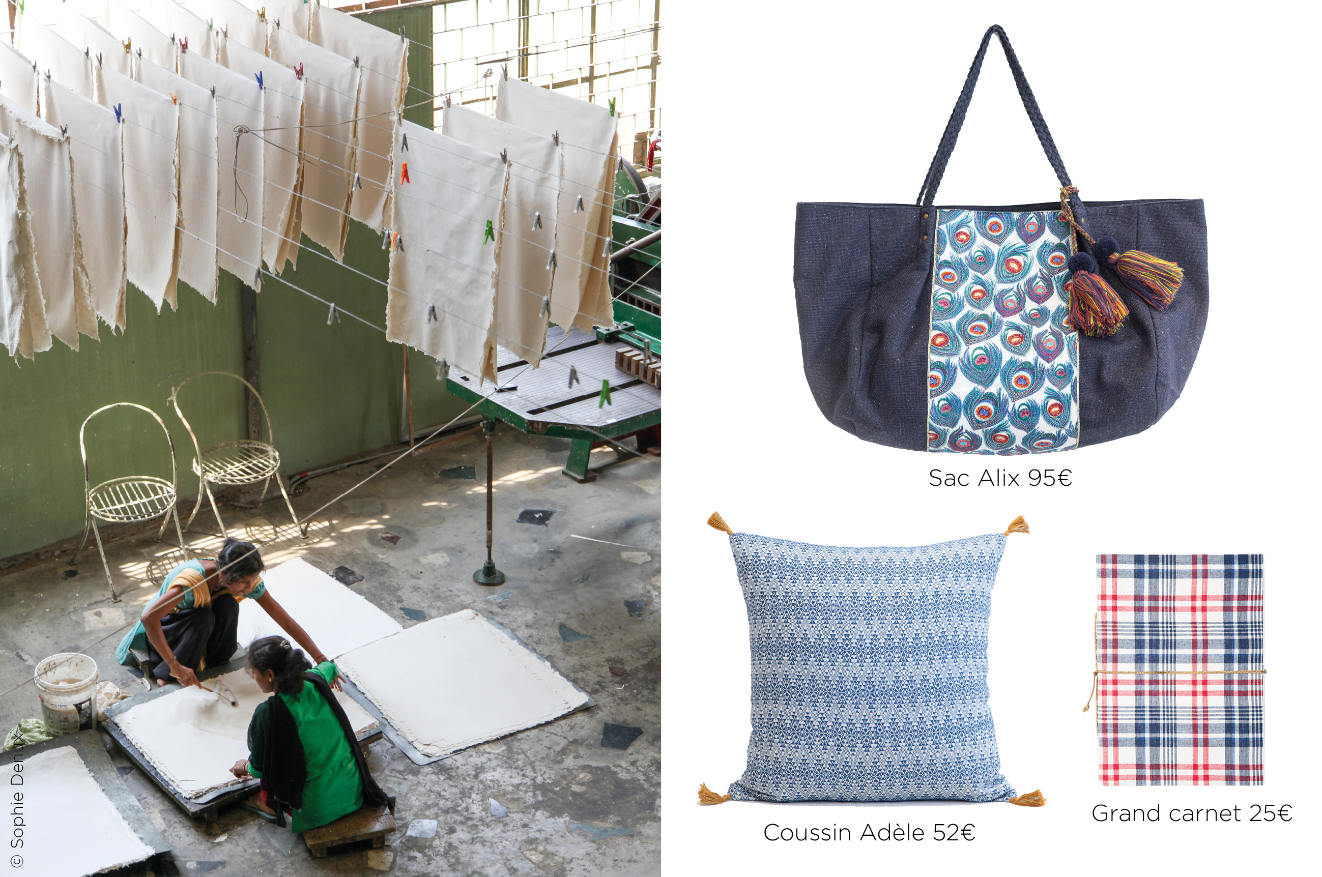 embroidered bag, woven cushion and notebook made of recycled paper