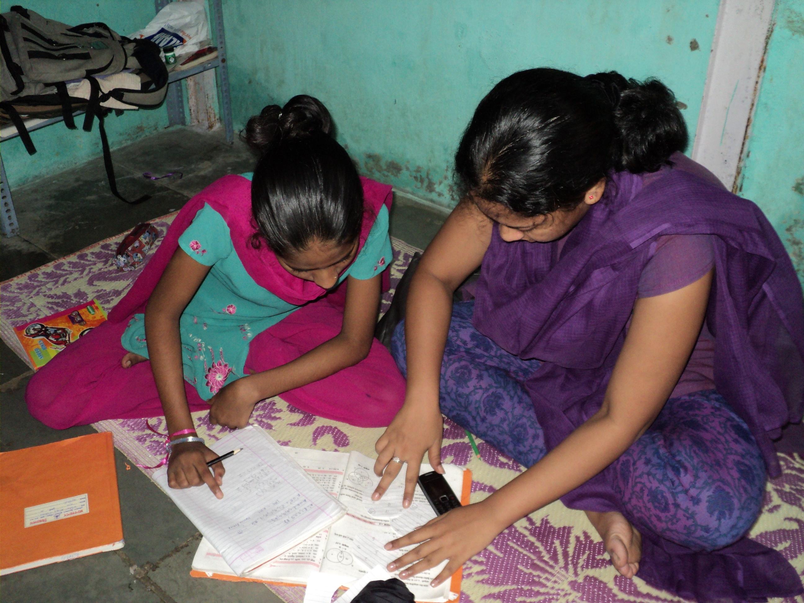two girls doing their homework