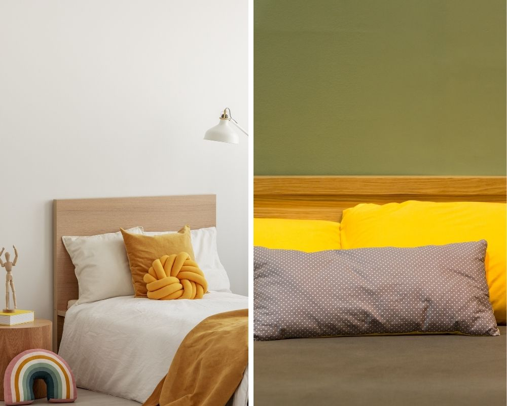 graphic motifs on yellow wallpaper